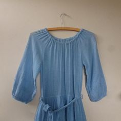 70's Boho Dress  1970's Blue Cotton Hippie by thatwasagoodyear, $18.00