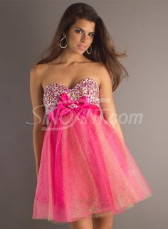 Lovely Empire Waist Bowknot Mini Tulle Graduation Dress