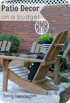 Check out the DIY and craft projects for this patio decor space.  A total patio build and furnish on a budget!  Monograms, striped planters and fun accents make this space feel like an extension of the home.
