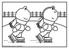 Kleurplaat Frokkie en Lola aan het schaatsen