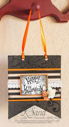 Great Impression Stamps, Kendra Sand, Spider Web and Happy Halloween stamps, Halloween Home Decor Plaque
