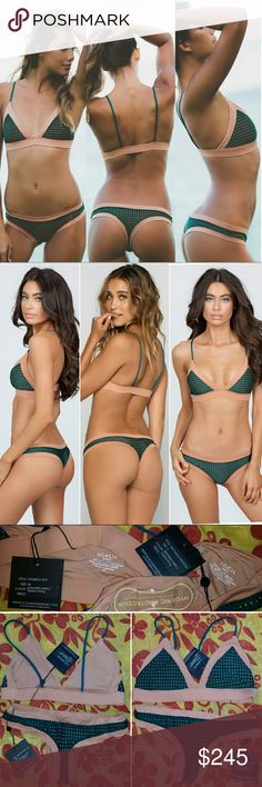 New acacia set seaweed mesh topless tetiaroa M sao Brand new with tags, hygienic protection strip & still in original manufacturer's plastic. Seaweed mesh with topless lining colorblock bikini set by acacia swimwear. Medium tetiaroa top. Small sao paolo bottom. Beautiful dark pine forest green with tan nude lining. Only selling as a set. Not willing to sell the tetiaroa top or sao paulo bottom separately. Price firm for the set, so no offers. No trade please acacia swimwear Swim Bikinis