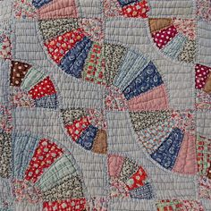 close up detail of block pattern, double, Ohio Farm Flour Sack Quilt Double Fan Pattern Patchwork Hand Stitched 64 x 72 | eBay