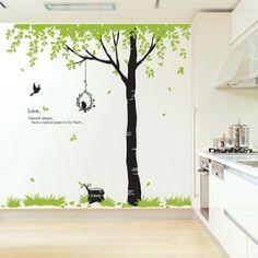 Flying Bird and Big Tree Wall Sticker Decal for Baby Nursery Kids Room, Garden, Lawn, Maintenance Nursery Wall Decals, Nursery Decor, Nursery Ideas, Playroom Ideas, Girl Nursery, Girl Room, Wall Stickers Uk, Tree Decals, Vinyl Decals