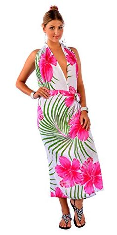 1ec3491166 1 World Sarongs Womens PLUS Size FRINGELESS Hawaiian Sarong Pink Green White      More info could be found at the image url-affiliate link.