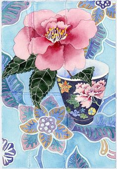 Camelia and teacup *saved by oldsum Art Floral, Art And Illustration, Watercolor Flowers, Watercolor Paintings, Watercolours, Fruit Art, Beatrix Potter, Botanical Art, Chinese Art