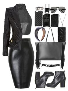 """For Leatherboy"" by gorgeous-mermaid ❤ liked on Polyvore featuring FOSSIL, Topshop, The Case Factory, AGNELLE, Chloé, Valentino, Nails Inc., Burberry, Chanel and Balmain"