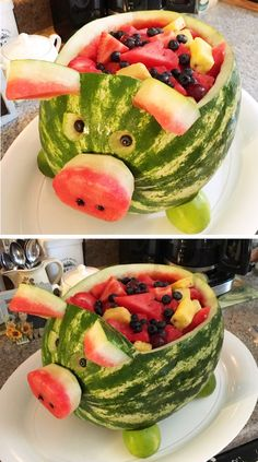 Farm birthday. Barnyard birthday. Pig watermelon. Carved watermelon. Watermelon fruit bowls. (watermelon recipes birthday parties)