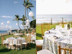 Rehearsal dinner details. LVL Weddings & Events // Photography: Brandon Kidd Photography // Pineapples favors: Letter Craft // Venue: Westin Maui Resort & Spa // Entertainment: Scott Baird //Linens: La Tavola