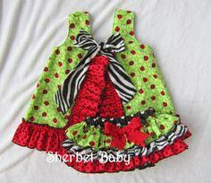 Ladybug & Zebra Ruffled Pinafore and Sassy Pants by SherbetBaby, $74.00