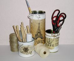 Pencil Holder Handmade Organizer Shabby Chic Up Cycled by Gofen, $18.00