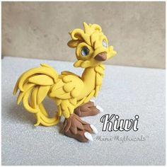 Kiwi the Chocobo by MiniMythicals - polymer clay chocobo, Final Fantasy fan art Polymer Clay Sculptures, Sculpture Clay, Pearl Ex, Clay Set, Polymer Clay Dragon, Good Things Take Time, Clay Design, Crafts To Do, Baby Sleep