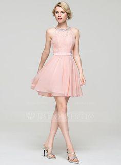 Vestidos princesa/ Formato A Decote redondo Curto/Mini tecido de seda Vestido de cocktail com Beading lantejoulas Curvado (016091227)