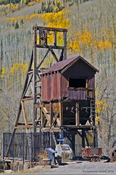 Old mine shaft house and head frame in Rico, Colorado