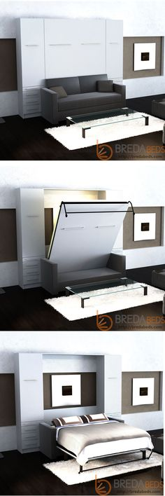 Murphy bed and sofa in one beautiful piece of furniture. BredaBeds offers premium function and a beautiful design. http://bredabeds.com/murphy-beds/shop-inline-collection.html