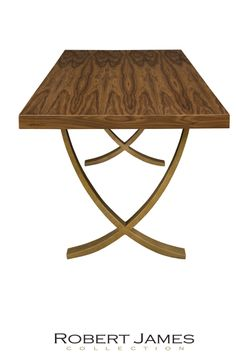 The ZIMMER contemporary dining table by the Robert James Collection. Wholesale furniture. #HPMKT Hand-carved etching on the legs is stunning. Shown with a Walnut top. The Aged Bronze iron legs would also be gorgeous with a polished white lacquered top. Fully customizable. #7083. 84 x 42 x 30h, 96 x 42 x 30h, 108 x 42 x 30h, 120 x 42 x 30h, or custom.