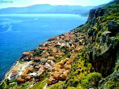 Monemvasia is a town and a municipality in Laconia, Greece. The town is located on a small island off the east coast of the Peloponnese.