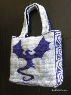 "Knitting pattern for Reversible Dragonflight Bag - #ad The Reversible Dragonflight Bag is a double knit bag with a reinforced base and two handles. It features a beautiful flying dragon on either side and a spiral design on the ends. The finished size is approximately 10.5"" by 11"" by 3.5"" (26.7 by 27.9 by 8.9 cm), not including the handles. tba dragon"