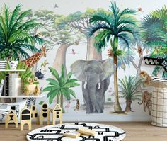 kleinkind zimmer Nature, jungle and animals become a great media for children's learning. But you don't have to really take them through dense jungle or get them to play with Safari Bedroom, Kids Bedroom, Boys Jungle Bedroom, Baby Bedroom, Kids Room Wallpaper, Of Wallpaper, Wallpaper Jungle, Baby Room Design, Baby Room Decor