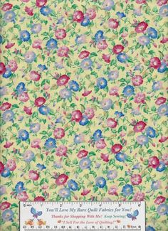 Low Pricing but HIGH Quality #quilt #cotton #fabric for You!  Pretty Rose, Pink, Mauve and Blue Morning Glories on Light Butter Yellow, see This Superb Sale here: http://www.bonanza.com/listings/4-Yards-Very-Rare-Morning-Glories-Floral-Quilt-Cotton-Fabric-Sharon-Kessler/233200513