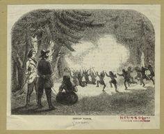 1856 engraving published in Harper's magazine. Titled: Indian Dance. Oregon.