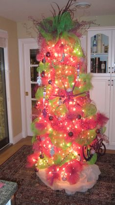Hot Pink Tree With Purple And Lime Green Decorations Ah Lol