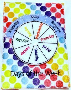 Days of the week quiet book page