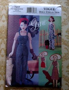 Vogue GENE Doll 40's Style Sportswear Clothes Sewing Pattern UNCUT 7417 shirt overalls playsuit. $24.00, via Etsy.