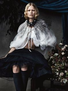 Vogue UK December 2013 Still Life Photographer: Josh Olins Models: Anna Ewers, Ashleigh Good, Sam Rollinson Fashion Editor: Lucinda Chambers Haute couture fashion editorial featuring … Read Dark Fashion, Love Fashion, Fashion Art, Fashion News, Fashion Models, High Fashion, Fashion Beauty, Couture Fashion, Anna Ewers