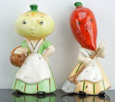 Napco Anthropomorphic Onion and Carrot Salt and Pepper Shakers Vintage | eBay