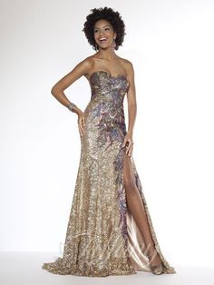 Sweetheart strapless stacked sequin sheath with embroidered peacock trim, trumpet skirt with side front skirt and sweep train