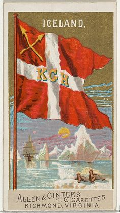 Iceland, from Flags of All Nations, Series 2 (N10) for Allen & Ginter Cigarettes Brands, 1890. The Metropolitan Museum of Art, New York. The Jefferson R. Burdick Collection, Gift of Jefferson R. Burdick (63.350.201.10.21)