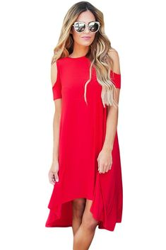 2017 Summer New Arrivals Women Casual Dress 2017 Cold Shoulder Short Sleeve High Low Dresses Vestidos De Festa Longo Cute Casual Dresses, Simple Dresses, Plus Size Dresses, Summer Dresses, Dress Casual, Vestidos High Low, Vestido Casual, Dress Collection, Ideias Fashion