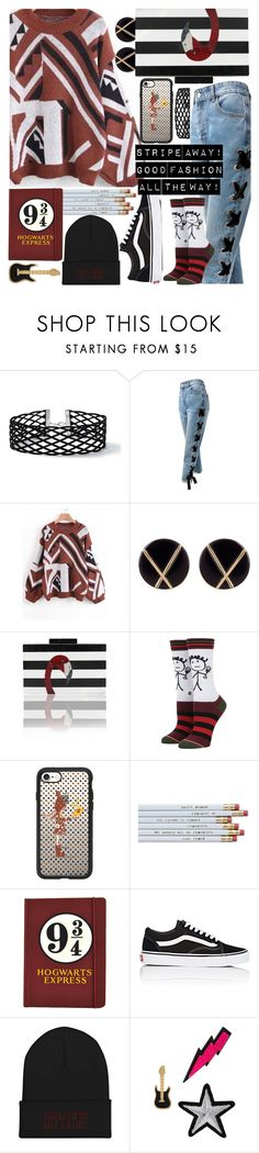 """Stripe away! This is good fashion all the way!🎬"" by jelena-bozovic-1 ❤ liked on Polyvore featuring Miss Selfridge, Sans Souci, Botkier, Stance, Casetify, Vans and Lydell NYC"