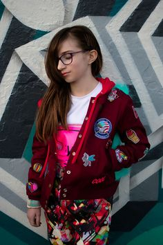 Senpai Bomber Jacket PDF Pattern by Sew Chibi Designs. Boys, Girls, Non Binary Fashion for kids and teens ages 12M-16Y. Includes instructions for adding a hood and/or neckband, welt and and chest/sleeve pockets, a full lining (or not!), and FREE collegiate lettering applique templates in various sizes!