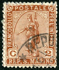"1899 Scott 32 2c brown ""Statue of Liberty"" An eight stamp ""Statue of Liberty"" issue was used in San Marino between 1899-1922. CV ranges from <$1-$4+."
