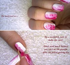 Super Easy Nail Art Ideas for Beginners - Toothpick Nail Art Easy Tricolor Swirl Nails Tutorial - Simple Step By Step DIY Tutorials And Pictures For Nailart. Ideas For Every Style, All Hair Colors, Sparkle, Valentines, And other Awesome Products To Make It DIY and Super Easy - https://thegoddess.com/nail-art-ideas-beginners
