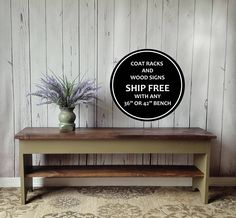 This sturdy bench is crafted from solid wood with a stained top and a painted bottom. Its modern farmhouse appeal is perfect for an entryway or mud room but would look great at the end of a bed or in any room. The stained top is made out of rustic, rough sawn Eastern White Pine and