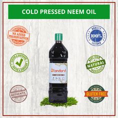 Cold Pressed Neem Oil - For Acne Relief - Skin Replenishing & Scar Removal - Natural Pest Control & Mosquito Repellent - Act as a Natural Fertilizer in Terrus Gardening & Organic Farming Azadirachta Indica, Cold Pressed Oil, Best Hair Oil, Neem Oil, Cold Sore, Nail Fungus, Organic Farming, Acne Prone Skin, Pest Control