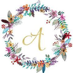 printable monogram floral wreath