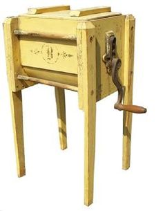 Q598  This wonderful Butter Churn is offered in dry original yellow decorated  paint in  completely original condition   The Blanchard Company