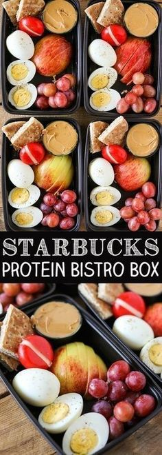 DIY Starbucks Protein Bistro Box - Easy Meal Prep! Food, easy recipes, quick recipes, easy dinner recipes, healthy dinner, healthy recipes, restaurant reviews, best new restaurants, food porn, cocktail recipes, summer cocktails, easy cocktails. #recipeseasy