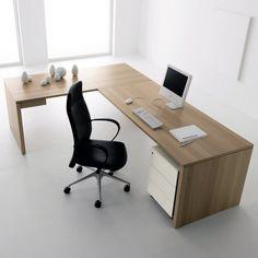 Furniture Modern Design Ideas With L Shaped Desk Black Swivel Chair