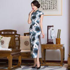Chinese Wedding Dress Chinese Dress Clothing Store Jiangnan Ink Long Summer High Fashion Cheongsam Short Sleeved Vintage Split