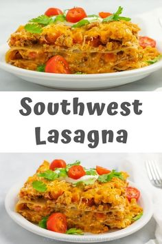This southwest lasagna recipe is low calorie and made with whole wheat noodles , ground turkey, and lots of healthy peppers to give it a kick and make your body happy at the same time. The ultimate guilt-free comfort food is here! Clean Eating Recipes, Healthy Dinner Recipes, Real Food Recipes, Pasta Recipes, Spicy Recipes, Healthy Meals, Healthy Munchies, Healthy Juices, Healthy Chicken