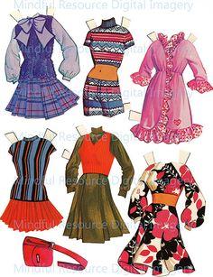 Brady Bunch Paper Dolls Vintage 70s Fashion by mindfulresource