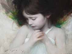 Jeremy Lipking Green and Grey oil on linen 9 X 12 inches