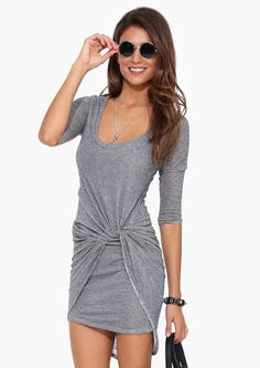 Lawrence Knot Dress in Charcoal | Necessary Clothing