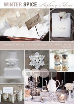 Winter wedding inspiration board..I like the cream and beige