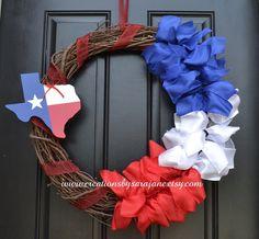 Texas Wreath - Red White and Blue Texas Wreath - Texas Decor on Etsy, $45.00